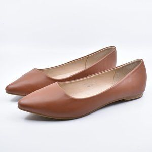 Tan Faux Leather Pointed Pointy Toe Ballet Flats